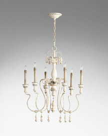 A French Country Style - Wood and Wrought Iron, 25.5L x 25.5 Round - Six Light Chandelier - Distressed Shabby Chic Finish with French Blue Accents