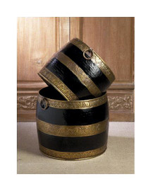 Horizontal Stripe, Indian Brass Container Set, 14 Inch Planter, Ebony Black Antique Brass Finish