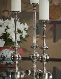 Contemporary Ovals & Orb, Indian Aluminum Pillar Candle Holder Pair, 18.5 Inch Classic Candlestick, Nickel Finish
