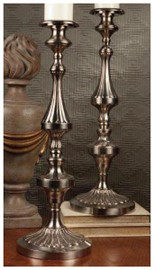 Fluted Column, Brass Pillar Candle Pair, 23 Inch Classic Candlestick, Antique Silver Finish