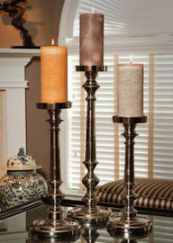 Contemporary, Brass Pillar Candle Pair, 20 Inch Classic Candlestick, Silver Finish