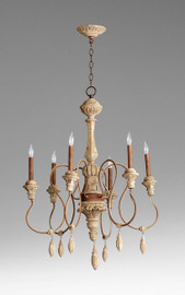 A French Country Style - Wood and Wrought Iron - Six Light 40.75L X 28 Round Chandelier - Distressed Rustic Finish