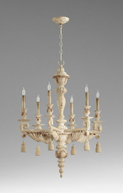 A French Contemporary Style - Greek Key, Acanthus, and Tassel - Wooden Six Light, 37.5L X 28 Round Chandelier - Shabby Chic Distressed White Finish