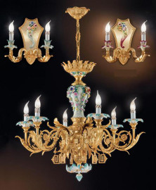 European Reproduction Porcelain Spring Gardens Chandelier in Gilt Bronze Ormolu - 35.43 Inch - 24 Karat Gold Finish
