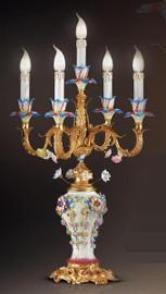 #European Reproduction Porcelain Spring Gardens Electric Candelabrum in Gilt Bronze Ormolu - 31.49 Inch - 24 Karat Gold Finish, 4055
