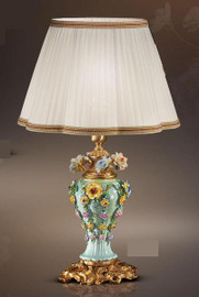European Reproduction Porcelain Spring Gardens Tabletop Lamp in Gilt Bronze Ormolu - 29.52 Inch - 24 Karat Gold Finish
