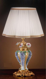 European Reproduction Porcelain Flower Gardens Tabletop Lamp in Gilt Bronze Ormolu - 29.52 Inch - 24 Karat Gold Finish