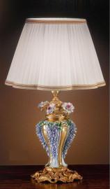 #European Reproduction Porcelain Flower Gardens Tabletop Lamp in Gilt Bronze Ormolu - 29.52 Inch - 24 Karat Gold Finish