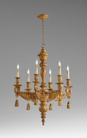 A French Contemporary Style - Greek Key, Acanthus, and Tassel - Wooden Six Light, 37.5L X 28 Round Chandelier - Umber Gilt Finish