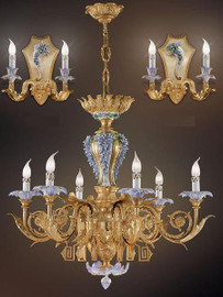 European Reproduction Porcelain Flower Gardens Chandelier in Gilt Bronze Ormolu - 35.43 Inch - 24 Karat Gold Finish