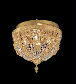 #European Reproduction Caryatid Ceiling Mount in Gilt Bronze Ormolu, Swarovski Strass Crystal - 15.74 Inch - 24 Karat Gold Finish