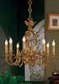 European Reproduction - 18th Century Style, French Regence Chandelier in Gilt Bronze Ormolu - 29.52 Inch - 24 Karat Gold Finish