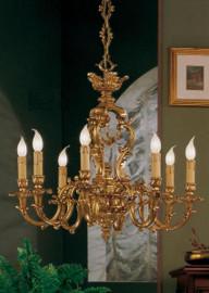 #European Reproduction - 18th Century Style, French Regence Chandelier in Gilt Bronze Ormolu - 29.52 Inch 24 Karat Gold Finish