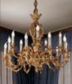 European Reproduction - 18th Century Style, French Regence Chandelier in Gilt Bronze Ormolu - 39.30 Inch 24 Karat Gold Finish