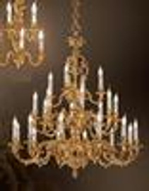 European Reproduction - 18th Century Style, French Regence Chandelier in Gilt Bronze Ormolu - 49.25 Inch 24 Karat Gold Finish