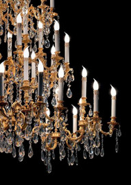 #European Reproduction Louis XV Rococo Chandelier in Gilt Bronze Ormolu, Austrian Scholer Crystal - 59t X 59dia. - C Scroll Design with 24 Karat Gold Finish | 4029