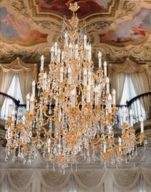 #European Reproduction | Louis XV, Rococo, 66 Light Chandelier in Gilt Bronze Ormolu | Austrian Scholer Crystal | 70dia. X 86t | C Scroll Design with 24 Karat Gold Finish | 4030