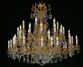 #European Reproduction Louis XV Rococo Chandelier in Gilt Bronze Ormolu, Austrian Scholer Crystal - 59 Inch - C Scroll Design with 24 Karat Gold Finish