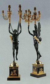 European Reproduction Gilt Bronze Ormolu and Natural Stone, 47.18 Inch Palace Candelabra Pair, 24K Gold Finish, 4021