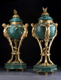#European Reproduction Gilt Bronze Ormolu and Marble, 26.77 Inch Covered Cassolette Urn Pair, 24K Gold Finish