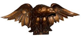 A Classic Elements 14w x 6t, American Bald Eagle in Flight Wall Plaque Over Door Pediment, Custom Finish