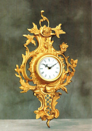 """#French Rococo, Louis XV 18.81"""" Wall Clock, French Gold Gilt - Handmade Reproduction of a 17th, 18th Century Dore Bronze Antique, 4017"""