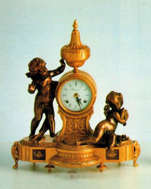 Fancy d'Oro Ormolu - Desk, Shelf, Gambader Putti Mantel Clock - Frolicking Putti - Choose Your Finish - Handmade Reproduction of a 17th, 18th Century Dore Bronze Antique, 4014