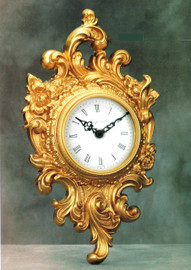 "French Rococo, Louis XV, 17.71"" Wall Clock, French Gold Gilt - Handmade Reproduction of a 17th, 18th Century Dore Bronze Antique, 4016"
