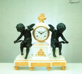 """Bianco Carrara Italian Marble and Brass Ormolu, 16.14"""" Mantel, Table Clock, French Gold Gilt - Handmade Reproduction of a 17th, 18th Century Dore Bronze Antique, 4013"""