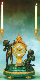 """Verde Delle Alpi Italian Marble and Brass Ormolu, 15.74"""" Mantel, Table Clock, French Gold Gilt - Handmade Reproduction of a 17th, 18th Century Dore Bronze Antique, 4011"""