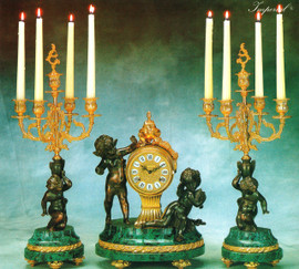 """Antique Style French Louis Garniture, Verde Delle Alpi Italian Marble and Brass Ormolu Mantel, Table Clock, 22.04"""" Five Light Candelabra Set, French Gold Gilt, Handmade Reproduction of a 17th, 18th Century Dore Bronze Antique, 4010"""