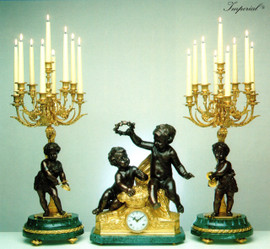 """Antique Style French Louis Garniture, Verde Delle Alpi, Green Italian Marble and Brass Ormolu Mantel, Table Clock 30.70"""", Nine Light Candelabra Set, French Gold Gilt Patina, Handmade Reproduction of a 17th, 18th Century Dore Bronze Antique, 4007"""