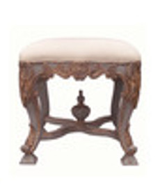 Custom Decorator - Hand Carved Hardwood 19th Century, Napoleon III 19.29 Inch Accent Stool - Upholstered Seat
