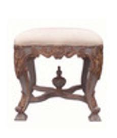 Custom Decorator - Hand Carved Hardwood 19th Century, Napoleon III 19.29 Inch Accent Stool - Upholstered Seat - 3996