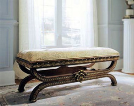 Hand Carved European Reproduction of an Antique 50 Inch Bench 3988 - 13126