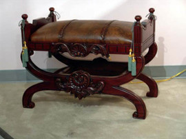 Hand Carved European Reproduction of an Antique 28 Inch Bench
