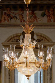 European Reproduction Rococo Chandelier in Gilt Bronze Ormolu, Porcelain Bisque Putti accents, Swarovski Strass Crystal and Etched Hurricane Shades - 49.15 Inch - 24 Karat Gold Finish 3973