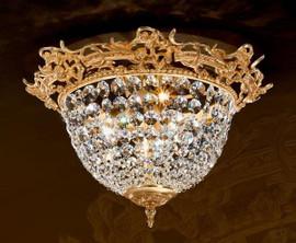 #European Reproduction Gilt Bronze Ormolu and Swarovski Strass Crystal - 17.71 Inch Ceiling Mount Lighting Fixture 3968