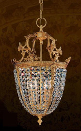 #European Reproduction Parcel Gilt Bronze Ormolu and Swarovski Strass Crystal - 26.77 Inch Pendant Chandelier 3969