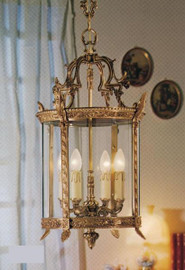 European Reproduction Four Light Gilt Bronze Ormolu and Glass - 26.77 Inch Pendant Chandelier 3965
