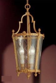 #European Reproduction Three Light Gilt Bronze Ormolu and Glass - 21.65 Inch Pendant Chandelier 3966