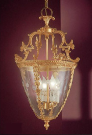European Reproduction Four Light Gilt Bronze Ormolu and Glass - 25.59 Inch Pendant Chandelier 3964