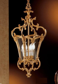 #European Reproduction Four Light Gilt Bronze Ormolu and Glass - 33.07 Inch Pendant Chandelier 3963