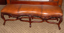 Hand Carved European Reproduction of an Antique 60 Inch Bench