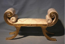 Hand Carved European Reproduction of an Antique 50 Inch Bench