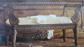 Hand Carved European Reproduction of an Antique 54 Inch Bench