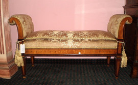 Hand Carved European Reproduction of an Antique 56 Inch Bench