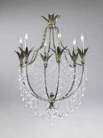 Feuille de Laurier - Rose Six Light Wrought Iron - 39.5 Inch Chandelier - Bronze Finish - Draped with Crystal