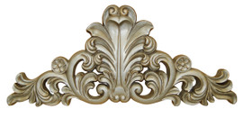 A Classic Elements 18w x 8t, Silver Gilt, Acanthus, Rosette and Flourish Wall Plaque Over Door Pediment, Customizable
