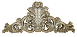 A Classic Elements 18w x 8t, Silver Parcel Gilt, Acanthus, Rosette and Flourish Wall Plaque Over Door Pediment, Customizable